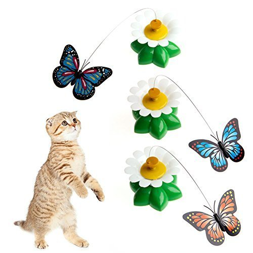 Delight eShop 1Pc Electric Rotating Butterfly Cat Rod Funny Pet Cat Toys Kitten Play Toy
