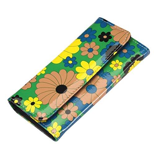Donne stile retrò Funky Flower Power pieghevole frizione borsa - portafoglio donna