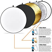 Vivider (TM) 24 inch / 60cm 5-in-1 Collapsible Multi-Disc Light Photography Reflector with Bag - Translucent, Silver, Gold, White and Black