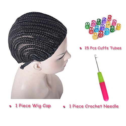 MSHAIR Crochet Braided Wig Cap, Latch Hook Crochet Needle And 15 Pieces Dreadlocks Beads in Cornrow Sew Hair For Making Wigs (Cornrows And Beads)