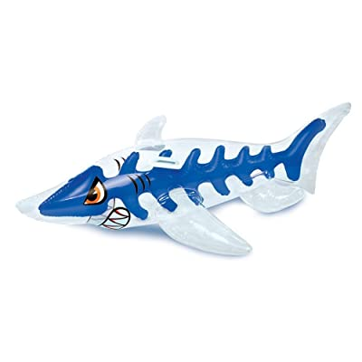 Shark 3-D Ride-On - 5 feet Long (Approx Inflated Size: 64.5In W x 36.5 in D x 20.5 in H).: Toys & Games