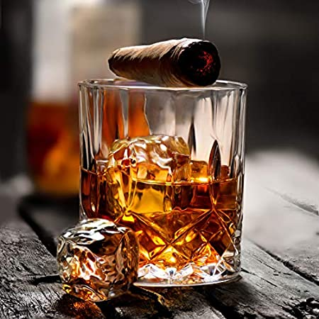 Juego de 4 vasos de whisky con grabado de flores, 325 ml, sin plomo, vasos de cristal de roca antigua para beber whisky escocés, coñac, whisky irlandés y cóctel de moda antigua.