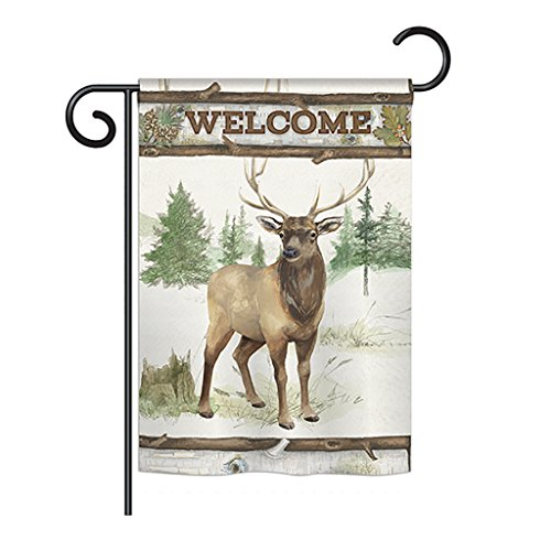 Breeze Decor G160105 Welcome Deer Nature Wildlife Impressions Decorative Vertical Garden Flag 13