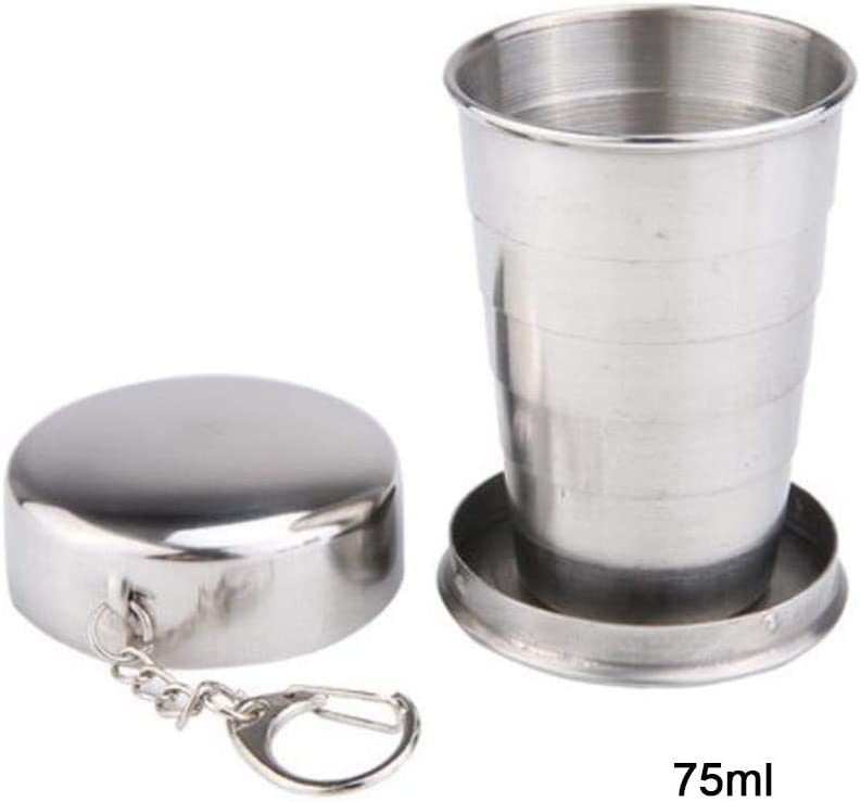 Stainless Steel Camping Folding Cup with Keychain Traveling Outdoor Hiking Portable Folding Metal Cup