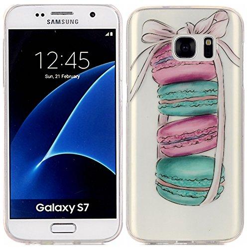 Mokyo Samsung Galaxy S7 Hülle,Ultra Dünn Weiche Klar TPU Gel Schutzhülle Stoßfest Silikon Bumper Tasche mit [Frei Stylus Stift] Niedlich Karikatur Muster Anti-Scratch Kratzfeste Gummi Rubber Durchsich Macaron