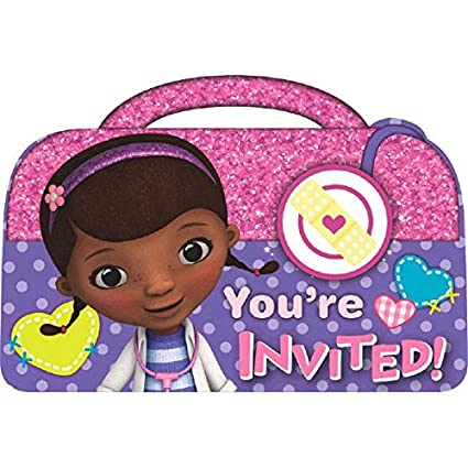 Amazon Doc McStuffins Birthday Party Invitations Cards Supply 8 Pack Pink Purple 4 1 X 5 7 9 Kitchen Dining