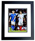 Niall Horan and Louis Tomlinson Signed - Autographed 1D One Direction Soccer 8x10 inch Photo BLACK CUSTOM FRAME - Guaranteed to pass PSA or JSA