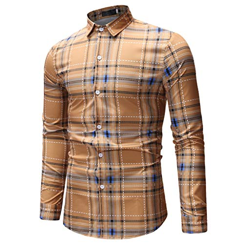 Cinsanong Long Sleeve Tops for Men, Printed Casual Spring Autumn Shirts Slim Fashion Plus Size Loose Vintage Blouse ()