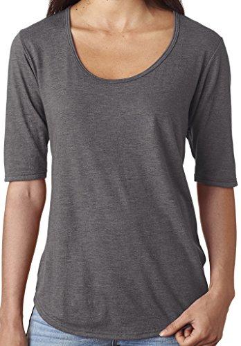 Yoga Clothing For You Ladies Deep Scoop Neck Tee, Large Heather Dark Grey