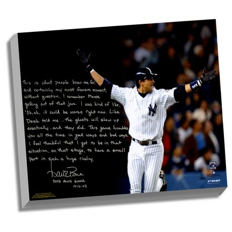 New York Yankees Aaron Boone Facsimile 2003 ALCS Game 7 Walk-Off Story Stretched 16x20 Story Canvas