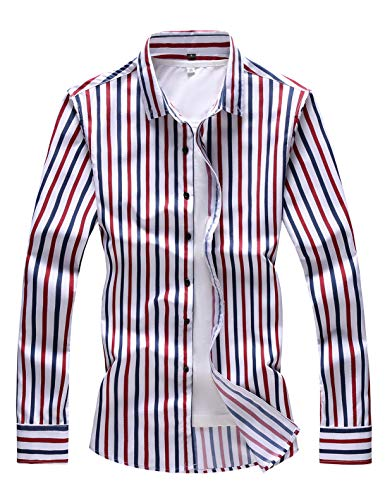 Mens Striped Dress Shirt - Men's Striped Slim Fit Business Casual Button-Down Long Sleeve Shirt (Large Chest: 45.7 inch, Red Blue Striped)