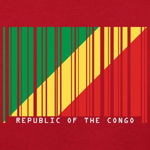 Republic of the Congo / Republik Kongo Barcode Flagge - Herren T-Shirt - Rot - XS