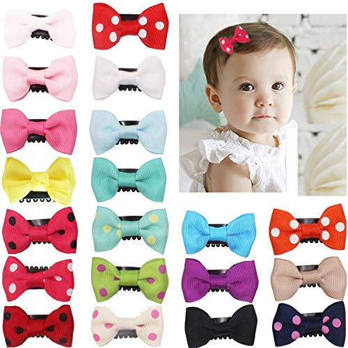 20Pcs Tiny Baby Hair Clips for Fine Hair Boutique Grosgrain Ribbon Hair Bows Clips Barrettes Accessories For Baby Girls Newborn Infant -
