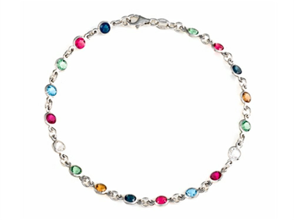 Finejewelers 10 Inches Ankle Bracelet with Simulated Stones Sterling Silver