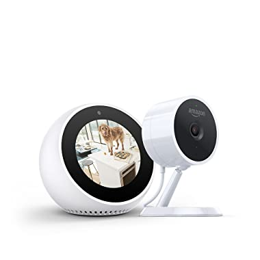 Echo Spot - White + Amazon Cloud Cam Security Camera Bundle