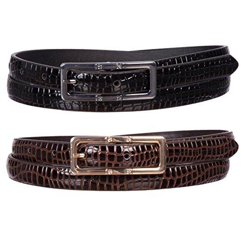 Sunny Belt Women's 2 Pack Faux Leather Snakeskin Waist Belts (Black/Brown, XL)