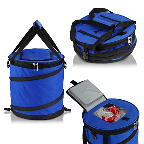 Blue 24 Can Pop Up Cooler – Lightweight, Insulated, Waterproof, Portable and Collapsible – For Travel, Picnics, Hiking, Camping and More – Jamboree by GigaTent