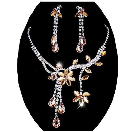 Chunlin Wedding Bridal Flower Leaf Rhinestone Crystal Necklace Drop Earrings Jewelry Set (Yellow)
