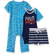 Gerber Baby Boys 3 Piece Coverall Set, Sharks, 6-9 Months