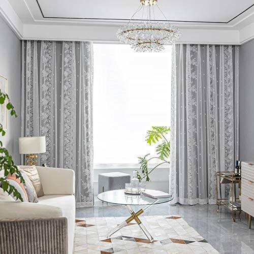 TIYANA All Match Dual Layer Window Curtains 2 Panels Extra Long for Living Room and Bedroom Grommet Top, Gray Silk Cloth Curtains with White Embroidery Sheers 100 by 108 inch Long, Gray