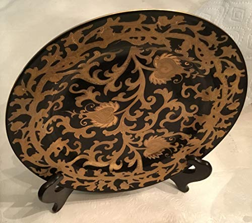 Lovely Amita Black and Gold Large Decorative Plate with Stand