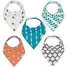 KiddieFirst Baby Bandana Drool Bibs Organic Cotton 5-Pack Unisex Baby Gift Set