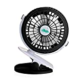 Clip On Fan Black for Baby Stroller Pram, Rechargeable Battery or USB Operated Personal Mini Fan, Powerful Desk Table Fan, Car Back Seat, Bunk Bed, Camping, Workout, Portable by ShoppeWatch MPF-59