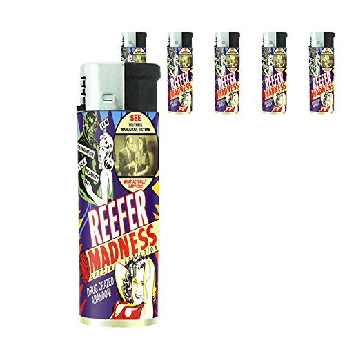 Reefer Set - Reefer Madness Set of 5 Lighters S5 Electronic Refillable Flame Cigarette Smoking