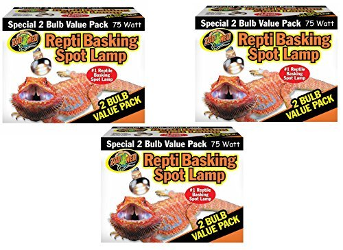 Zoo Med Reptile Basking Spot Lamp 75 Watts - 6 Bulbs Total (3 Packs with 2 per Pack) by Zoo Med