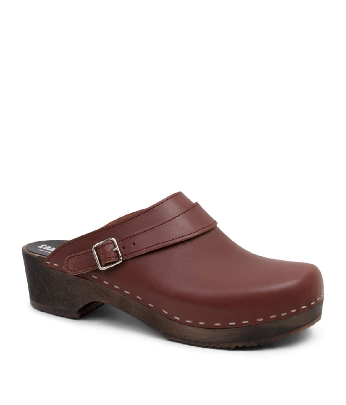 Sandgrens Swedish Wooden Clogs for Men with Leather Upper | Nybro (Dark Base) Cognac, EU 44 by Sandgrens (Image #1)