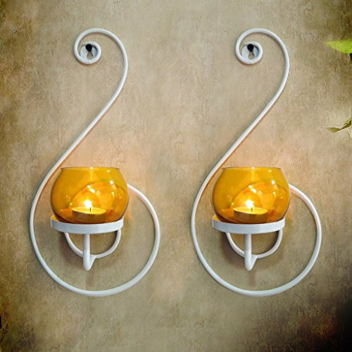 CraftVatika Set Of 2 Iron White Candle Holder Home Accent Decor Wall Sconce   Tea Light Candle Holder Hanging Wall Sconce Modern Home Decor for Living Room, Bedroom, Hallway, or Bathroom (Candles Sconces Wall For Outdoor)
