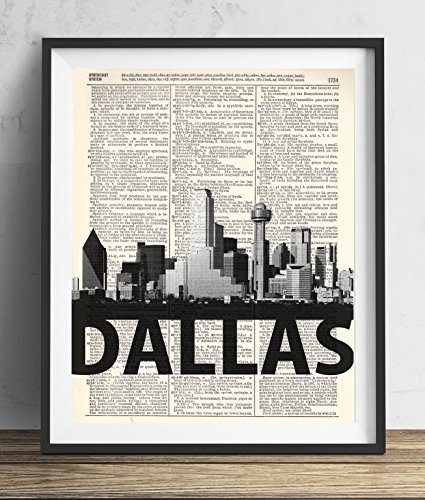 Dallas Skyline With Bold Name Dictionary Art Print 8x10
