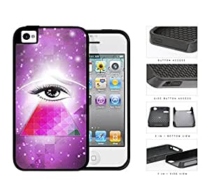 Cool Hipster Mysterious Eye with Purple Nebula Background and Geometric Triangle iPhone 4 4s 2-piece Dual Layer High Impact Black Silicone Cover