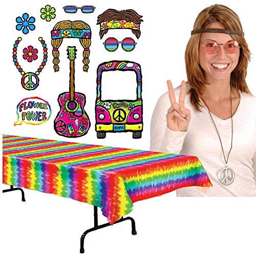 60's Party Supplies Pack Kit Set Table Cover, (1 Package of 11 2-Sided Signs) Photo Booth Picture Props, (1) Hippie Kit for The Host Hostess