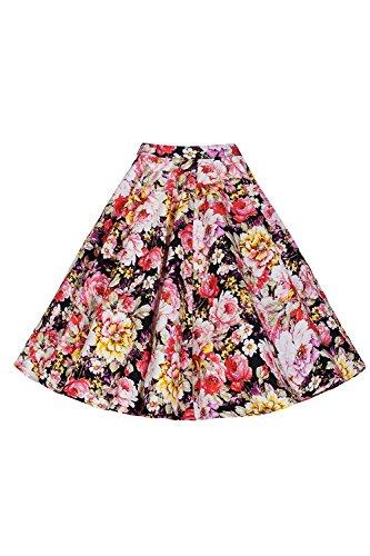 Les Femmes Vintage Des Annes 1950  Motif Floral Creux Swing Dcollet Puff, Jupe Plisse Floral