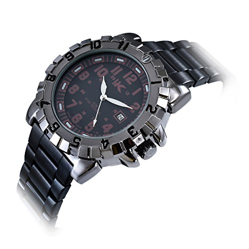 Yaki Design Herrenarmbanduhr Analog Quarz Uhren Herren Wasserdicht Rund mit Datumsanzeige Metallband Schwarz Neu