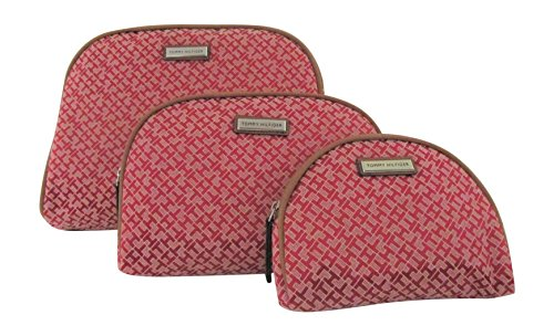 Tommy Hilfiger Makeup Bags Set of 3 Cosmetic Bags (Red)