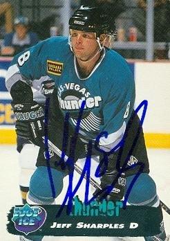 Autographed Edge Card Collectors (Autograph Warehouse 67897 Jeff Sharples Autographed Hockey Card Las Vegas Thunder 1995 Collectors Edge No. 156)