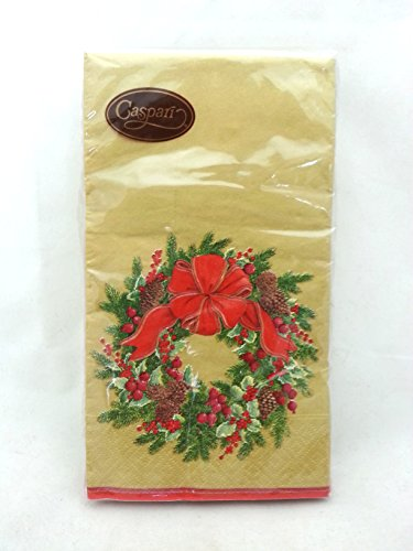 Entertaining with Caspari 13411G Evergreen Wreath Gold Paper Guest Towels, Pack of 15, Multicolored
