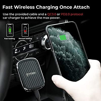 Wireless Charging Magnetic Car Mount PITAKA MagEZ Mount Qi Only Compatible with MagEZ Case Fast Qi Charging Phone Holder with USB A-C Cable CD Slot Mount for iPhone Galaxy Qi Smartphone