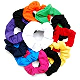 Luxxii Fancy Cotton Colorful Scrunchies Ponytail Holder Elastic Hair Bands (Color Scrunchies, 12 Count)