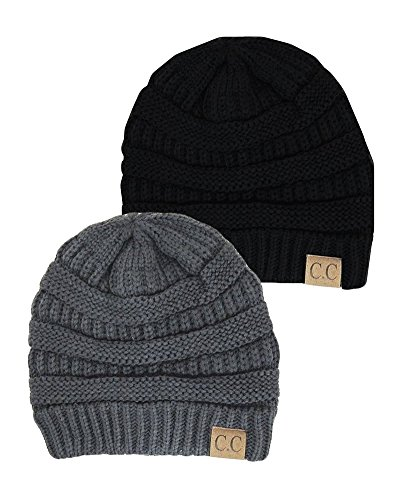 Black Thick Slouchy Knit Oversized Beanie Cap Hat,One Size,2 Pack: Black/Dark