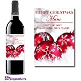 Personalised Red Bauble Christmas Festive Wine Bottle Label Gift for Women and Men by Purpleproducts