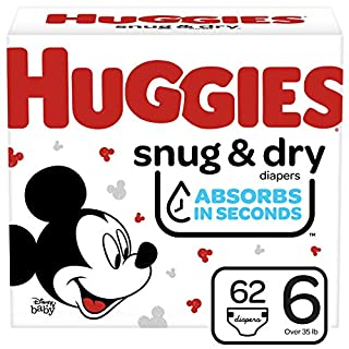 Huggies Snug & Dry Baby Diapers, Size 6, 62 Ct
