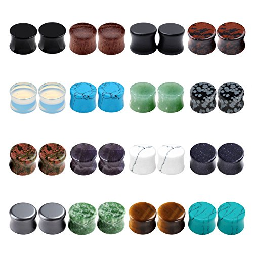 PiercingJ Acrylic Wood Mixed Stone Plugs 16 Pairs/32 Pieces Set Ear Plugs Ear Tunnels Ear Gauges Double Flared Ear Expander Stretcher ()