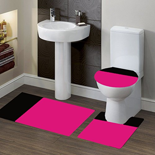 GorgeousHomeLinen (#7) 2 New Style 3pc Bathroom Set Bath Mat Contour and Toilet Lid Cover with Rubber Backing Rugs in Assorted Mix Colors (2-tone HOT PINK/BLACK) Pink Linen Mix