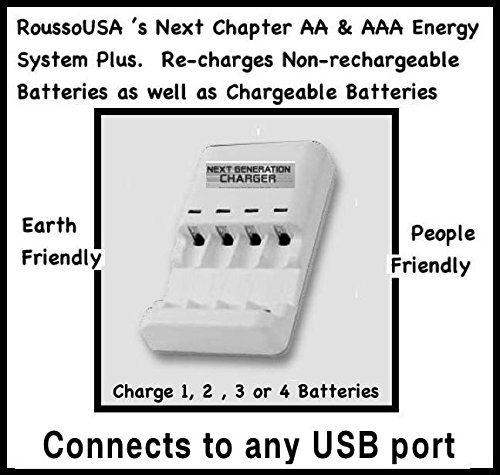 Re-charges Non-rechargeable Batteries as well as Chargeable, Plus will test batteries before charging, the Next Chapter AA & AAA Energy Systems Plus. Simply connect to any USB port with power and place Alkaline or Rechargeable Batteries
