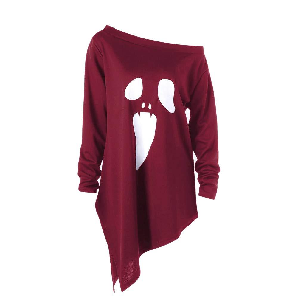 Pervobs Womens Halloween Ghost Print Long Sleeve Skew Collar Sweatshirt Pullover