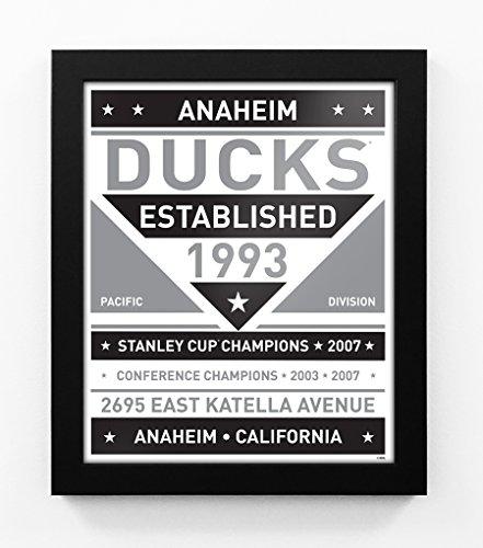 Anaheim Ducks Black and White Modern Team Print Framed