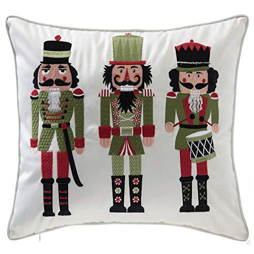 14 Karat Home Christmas Nutcrackers Throw Pillow/Holiday Accent Cushion for Living Room Decor - 16x18